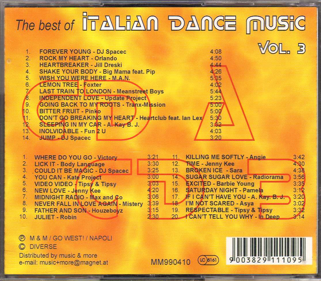 Compilation – The Best Of Italian Dance Music Vol  3 – 2 CD