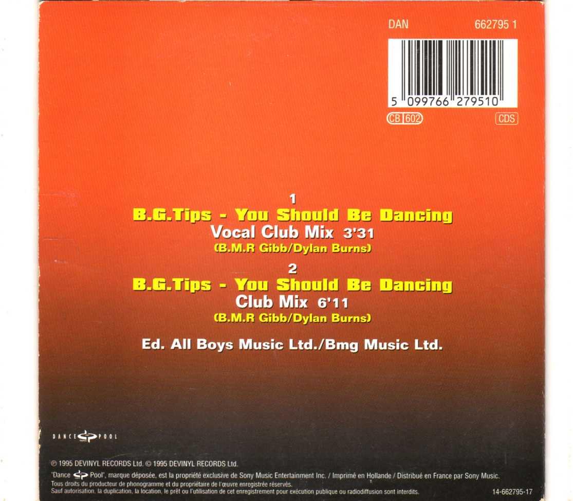 E-Sensual – B G  Tips – You Should Be Dancing – CDS